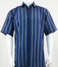 Bassiri Muted Blue Line Design Short Sleeve Camp Shirt