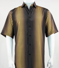 Bassiri Gold Grid and Line Pattern Short Sleeve Camp Shirt