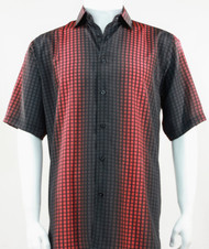Bassiri Black and Red Grid and Line Pattern Short Sleeve Camp Shirt