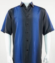 Bassiri Royal Grid and Line Pattern Short Sleeve Camp Shirt