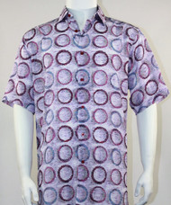 Bassiri Purple Circle Design Short Sleeve Camp Shirt