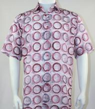 Bassiri Pink Circle Design Short Sleeve Camp Shirt