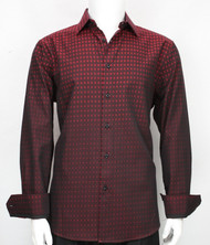 St. Cado 100% Cotton Fashion Shirt - Dark Red & Black Check Design