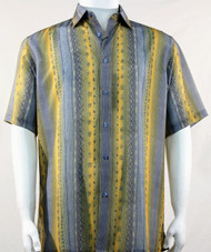 Bassiri Lines and Squares on Yellow and Grey Short Sleeve Camp Shirt