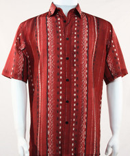 Bassiri Lines and Squares on Red Short Sleeve Camp Shirt