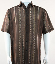 Bassiri Lines and Squares on Brown Short Sleeve Camp Shirt