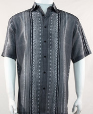 Bassiri Lines and Squares on Grey Short Sleeve Camp Shirt