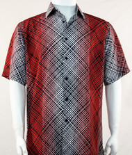 Bassiri Red Criss-Cross Pattern Short Sleeve Camp Shirt