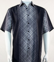 Bassiri Charcoal Criss-Cross Pattern Short Sleeve Camp Shirt