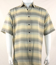 Bassiri Yellow Broken Line Pattern Short Sleeve Camp Shirt