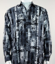 Bassiri Grey & Black Abstract Line Pattern Long Sleeve Camp Shirt