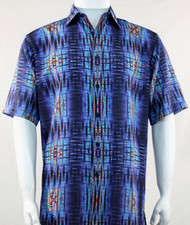 Bassiri Blue Tribal Print Short Sleeve Camp Shirt