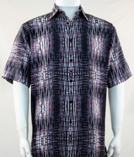 Bassiri Charcoal Tribal Print Short Sleeve Camp Shirt