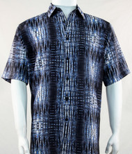 Bassiri Dark Blue Tribal Print Short Sleeve Camp Shirt