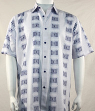 Bassiri Dark Blue Broken Line Print Short Sleeve Camp Shirt