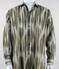 Bassiri Tan & Cream Faded Diagonal Pattern Long Sleeve Camp Shirt