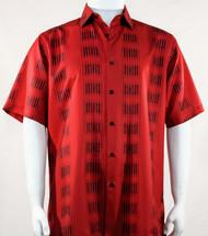 Bassiri Red Line Print Short Sleeve Camp Shirt