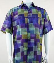 Bassiri Purple Mod Square Design Short Sleeve Camp Shirt