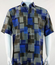 Bassiri Blue and Olive Mod Square Design Short Sleeve Camp Shirt