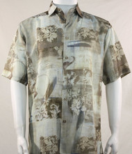 Bassiri Cream Floral Motif Short Sleeve Camp Shirt