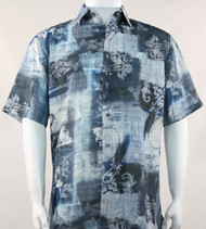 Bassiri Blue Floral Motif Short Sleeve Camp Shirt