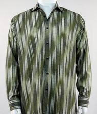 Bassiri Olive Faded Diagonal Pattern Long Sleeve Camp Shirt
