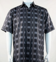 Bassiri Black Baroque Line Design Short Sleeve Camp Shirt