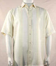Bassiri Cream Broad Ribbon Stripe Short Sleeve Camp Shirt