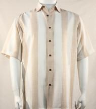 Bassiri Peach Broad Ribbon Stripe Short Sleeve Camp Shirt