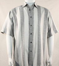 Bassiri Light Grey Broad Ribbon Stripe Short Sleeve Camp Shirt