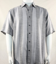 Bassiri Dark Grey Broad Ribbon Stripe Short Sleeve Camp Shirt