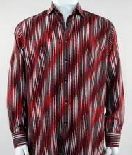 Bassiri Dark Red Faded Diagonal Pattern Long Sleeve Camp Shirt