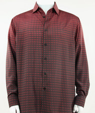 Bassiri Red & Black Faded Block Pattern Long Sleeve Camp Shirt