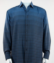 Bassiri Blue & Navy Faded Block Pattern Long Sleeve Camp Shirt