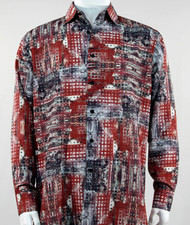 Bassiri Red Mod Abstract Design Long Sleeve Camp Shirt