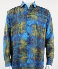 Bassiri Blue & Olive Mod Abstract Design Long Sleeve Camp Shirt