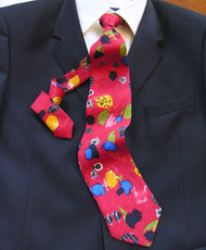 Outlet Center: Antonio Ricci 100% Printed Silk Italian Tie - Modern Art Floral Design on Red