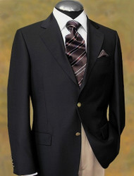 Baroni Couture 2-Button Classic Wool Blazer with Gold Buttons