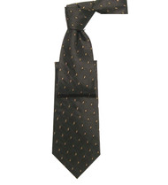 Antonio Ricci 100% Silk Woven Tie - Brown Dash Pattern