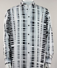 Bassiri Black & Grey Modern Linear Design Long Sleeve Camp Shirt