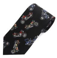 Men's Novelty Black Necktie - Motorcycles
