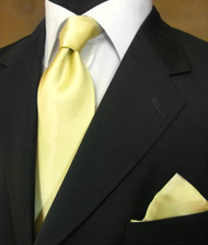 Outlet Center: Antonio Ricci 100% Satin Silk Tie with Pocket Square - Light Yellow