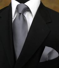 Antonio Ricci 100% Satin Silk Tie with Pocket Square - Grey