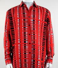 Bassiri Red & Black Modern Linear Design Long Sleeve Camp Shirt