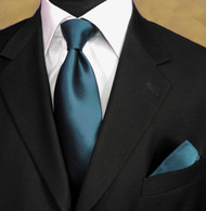 Outlet Center: Antonia 100% Woven Silk Necktie with Pocket Square - Dark Teal