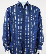 Bassiri Blue Modern Linear Design Long Sleeve Camp Shirt