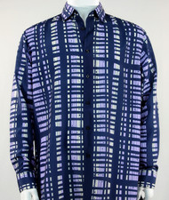 Bassiri Blue & Lavender Modern Linear Design Long Sleeve Camp Shirt