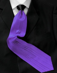 Outlet Center:  Antonio Ricci Vertical Pleated 100% Silk Tie - Contrasting Black on Purple
