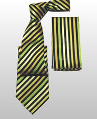 Outlet Center: Antonio Ricci 100% Silk Woven Tie - Gold Diagonal Stripes