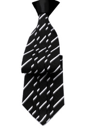 Outlet Center: Antonio Ricci Vertical Pleated 100% Silk Tie - Black & White Design with Black Knot